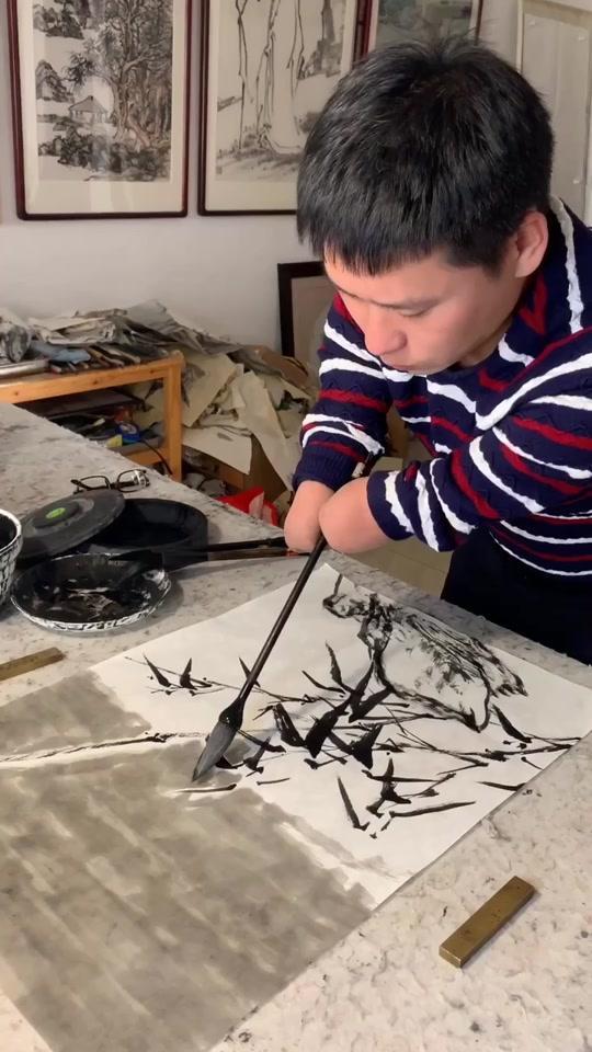 风雨竹—新中式办公室水墨客厅玄关书房对联中堂名家定制字画礼品